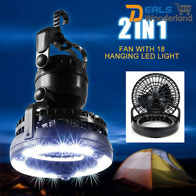 Xtelary 2 in 1 Outdoor Camping Fan with 18 LED Hanging Light Tent Lantern