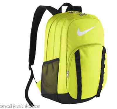 Nike BRASILIA 7 Backpack - 2075 cu in X-LARGE XL Canvas Bag -Volt & Black *NEW*