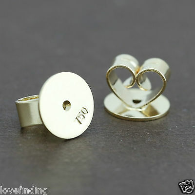 Genuine 18CT Solid Yellow Gold Disc Butterfly Earring Backs 8mm - 1 Pair