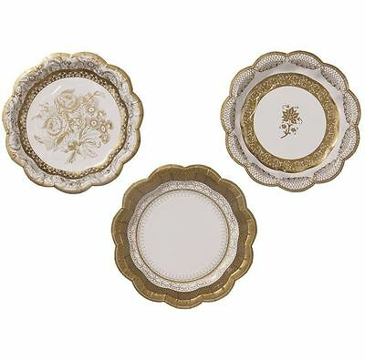 Party Porcelain Gold Small Paper Party Plates, 17cm , Pakc of 12 in 3 Designs