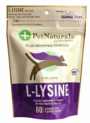New Pet Naturals of Vermont L-Lysine 60 Fun-Shaped Chews for Cats Pack of 6