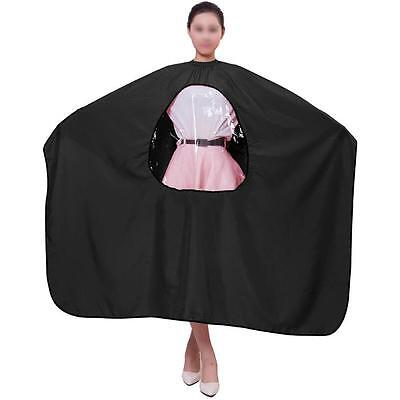 Barbers Hair Cutting Cape Hairdressing Black Gown Unisex View Window Salon Apron
