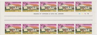 (OX-62)1981 Norfolk Island 30cChristmas churches gutterStrip of10stamps SG267MUH