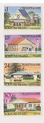 (OX-57) 1981 Norfolk Island 4set Christmas churches 18c to $1 SG265-8 MUH