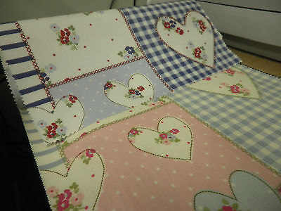 New Oil Cloth (Pvc) Shabby Chic Hearts At Tea Time Fabric