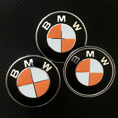 White & Orange CARBON Overlay Decal Sticker - BMW BADGE EMBLEMS Rims Hood Trunk