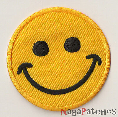 Ecusson brodé patche Smiley Smile thermocollant thermopatche patch