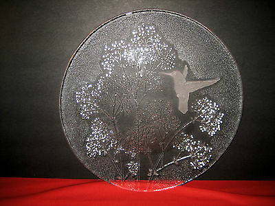 "Unmarked L E Smith 13"" Hummingbird Charger Plate Frosted To Clear Crystal Glass"
