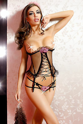 ANAIS Ulya Luxury Open Cup Boned Basque and Matching Crotchless G-String Set