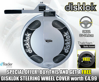 Small Disklok Silver Disc Lock Anti Theft Thatcham Steering Wheel 35cm - 38.9cm