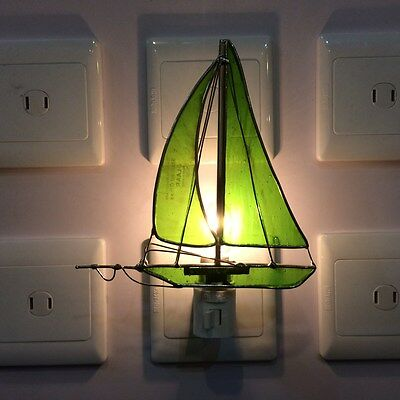 Stained Glass Green  Sailboat Night Light New [9009-52]