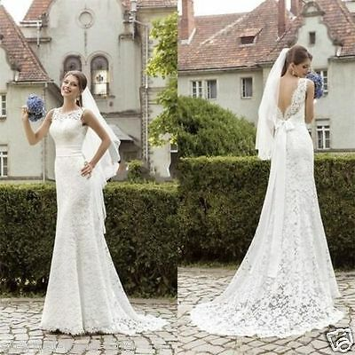 NEW White/Ivory Lace Wedding Dress Bridal Gown Custom Size 4 6 8 10 12 14 16 18