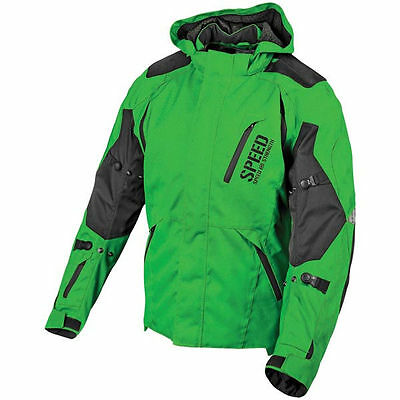 Speed & Strength Urge Overkill Green Hooded Street cycle Jacket w/Armor MD BLEM