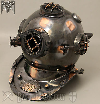 Antique U.S Navy Mark V Diving Divers Helmet Solid Copper & Brass Full Size
