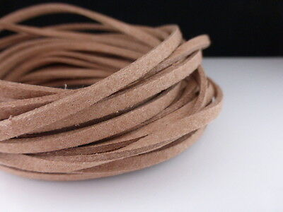 5m x 3mm Caramel Brown Faux Imitation Suede Cord Thong Beading Necklace    (F65)