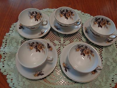 antique 5 demi cups and 6 saucers  made in Japan