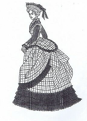 "1876 Dress pattern for antique French Fashion doll size 12-16 17-18 21-22""  #117"