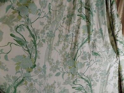 Vintage Chinoiserie Pinch Pleat Panels Valance Bed Skirt Asian Birds Silk Floral
