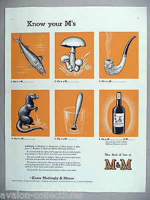 Mattingly & Moore Whiskey PRINT AD - 1942 ~ Know Your M's Series