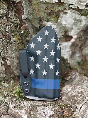 Kydex IWB holster Springfield XDS 3.3 - U.S. Flag / Blue Line - InvisiHolsters