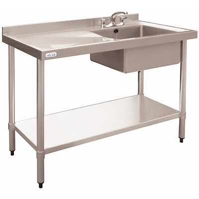 Sink Bench 1000mm Stainless Steel Right Hand Single Sink Restaurant Cafe