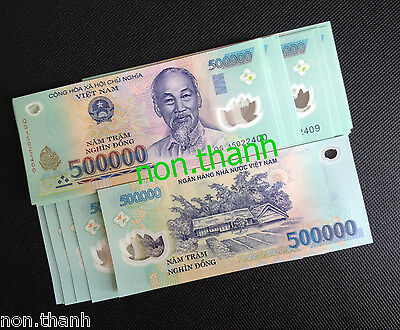1 Million Vietnam Dong = 500.000VND x 2 UNC Banknotes 1,000,000 VND Perfect