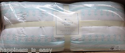 NWT Pottery Barn Kids Embroidered Crib Bumper Baby Nursery Aqua Turquoise Blue