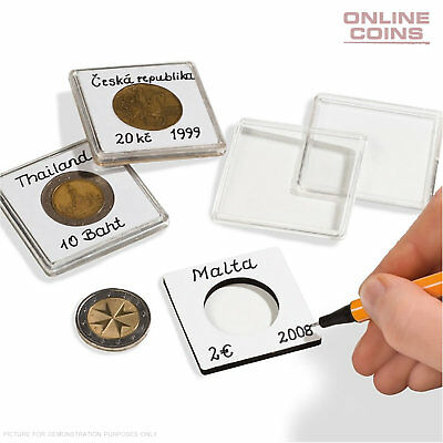 Lighthouse Quadrum Note 21mm Square Coin Capsules - With Writing Surface 10 Pack