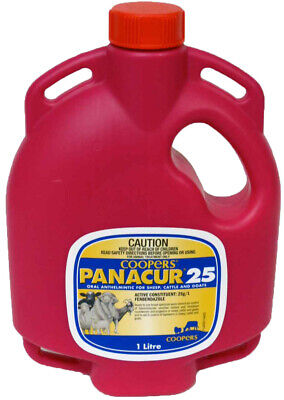 Coopers Panacur 25 Oral Drench Wormer for Sheep Cattle Goats 2 x 1lt