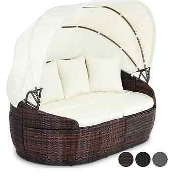 Sun Lounger Garden Patio Furniture Outdoor Bed Rattan Wicker Work 6 X Cushion