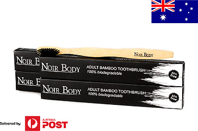 Noir Body Bamboo Toothbrush with Charcoal Infused Bristles (4 pack)
