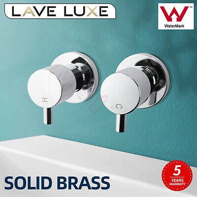 Round Wall Mounted Bathtub Mixer Set Brass Shower Head 1/4 TURN TWIN Vanity Taps