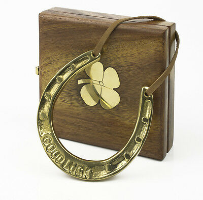 Brass Good Luck Horseshoe Wooden Box 4 Four Leaf Clover Gift Set