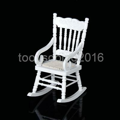 Vivid Mini Wooden White Rocking Chair for 1:12 Scale Dolls House Furniture