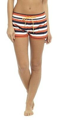696bfc0aa0c3 OCTAVE® Womens Ladies Stripe Print Summer Beach Shortie Shorts With  Drawstring