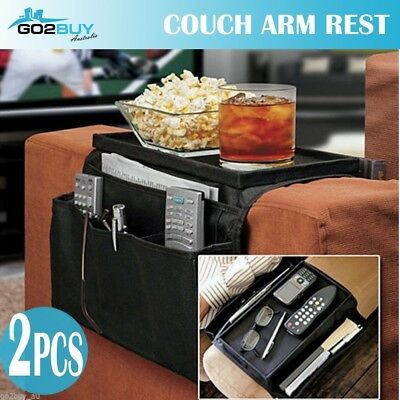 2 x Couch Chair Arm Rest Organiser Magazine Remote Holder Snack Tray 6 Pocket