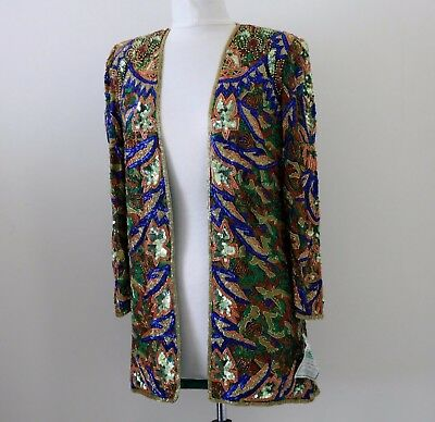 "Jasdee Vintage Beaded Jacket 32"" Length HandWork & HandPrint On Silk  Style 5053"
