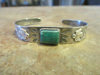 OLD FRED HARVEY Sterling Silver SQUARE Turquoise Applied Thunderbird Bracelet