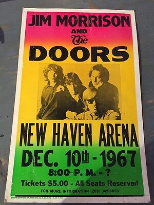 THE DOORS-Show Bill. 12/10/1967-NEW HAVEN ARENA(VINTAGE REPRODUCTION)1990 RARE !