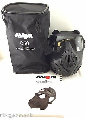 Avon C50 CBRN Gas Mask - 40mm NATO Twin Port APR Respirator - Medium COMMS MKII