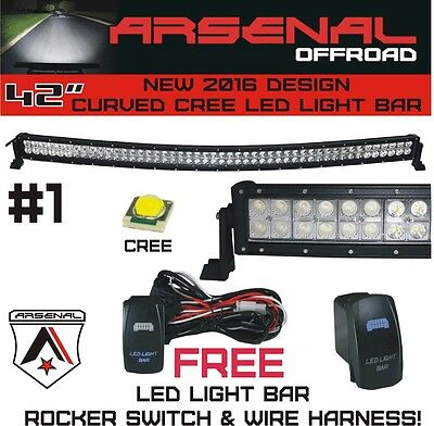 #1 42 inch Curved 240W CREE LED Light Bar by Arsenal Offroad TM spot flood combo