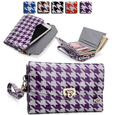 Womens Houndstooth Wallet Case Clutch Cover for Smart Cell Phones by KroO MLPK9
