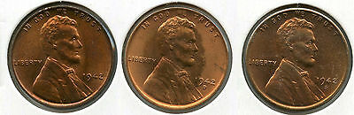 1942 Lincoln Wheat Cent Pennies - P D S Set - Uncirculated - LN1C AF499
