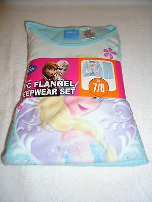 New Disney Frozen Elsa 2-Pc Flannel Sleepwear Set Pajamas  Size 7/8