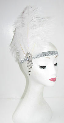 White Silver Ostrich Feather Headpiece Great Gatsby Flapper Headband 1920s 7AA