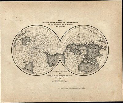 Magnetic lines of the world c.1850 Meyer scarce detailed antique map