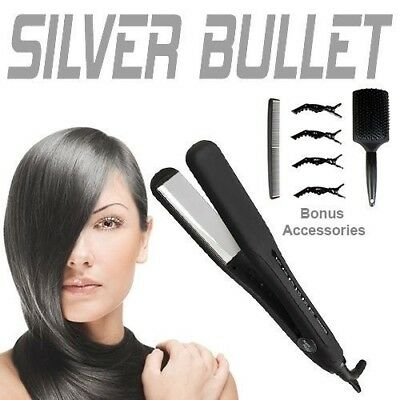 Silver Bullet Keratin 230 Titanium Wide Plate Hair Straightener Inc Accessories