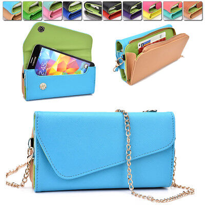 Womens PU Leather Wallet Case Cover & Crossbody Clutch for Smart-Phones MLUB28