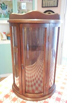 Vintage Wood Curio Wall Display Cabinet w Door & Curved Convex Glass 3 Shelves