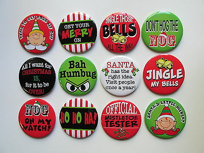 24 large funny christmas pins 2 12 button pin badges free sh party - Christmas Pins